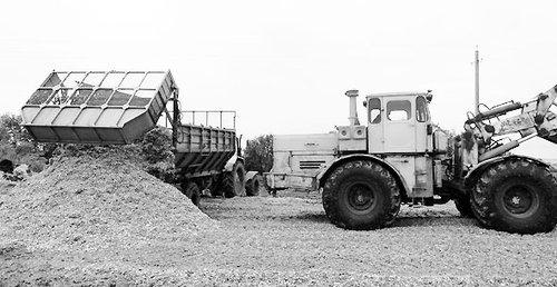"""""""Нива """".  Идет завершающий этап заготовки кормов - закладка кукурузы на силос."""